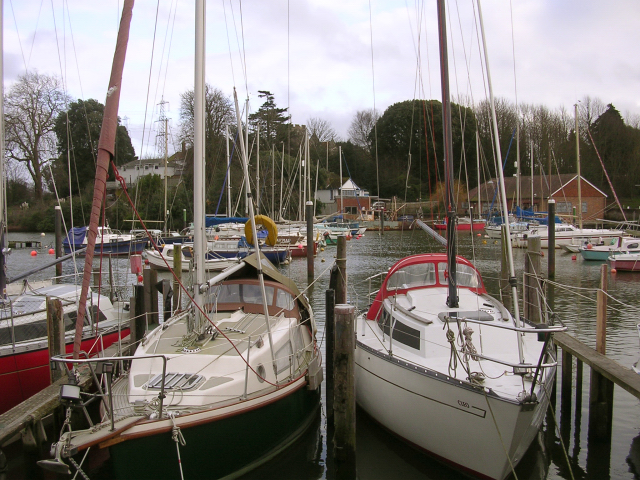 Boats moored at Eling