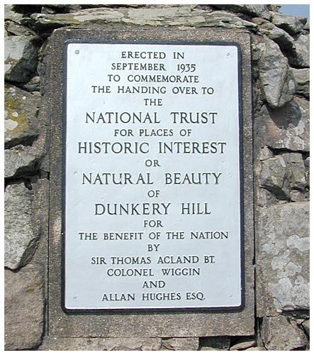 Plaque at Dunkery Beacon