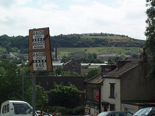 Old road sign at bottom of Baildon Road