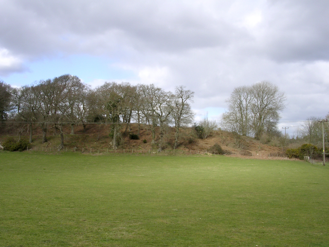 Southern ramparts of Buckland Rings Iron Age camp viewed from the south