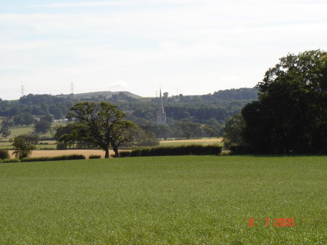 View over farmland to the Marble Church