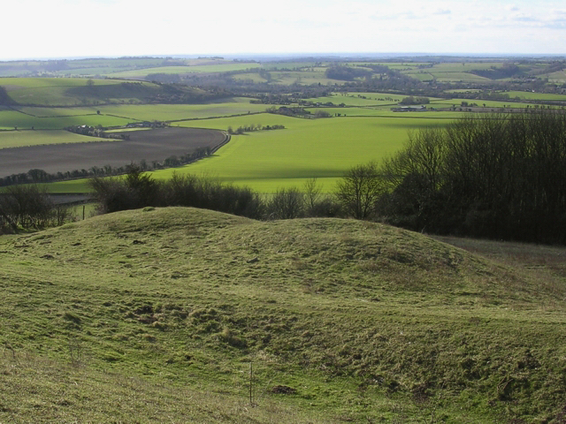 Double round barrow on Old Winchester Hill, looking down into the Meon Valley