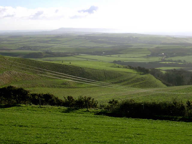 Portesham down and strip lynchets with the Isle of Portland in the distance
