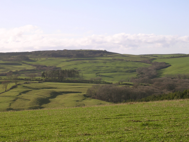 View southwest from the Kingston Russell stone circle towards Abbotsbury Castle