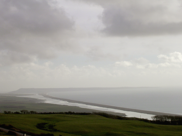 View of the Fleet, Chesil Beach and the Isle of Portland from Abbotsbury Castle
