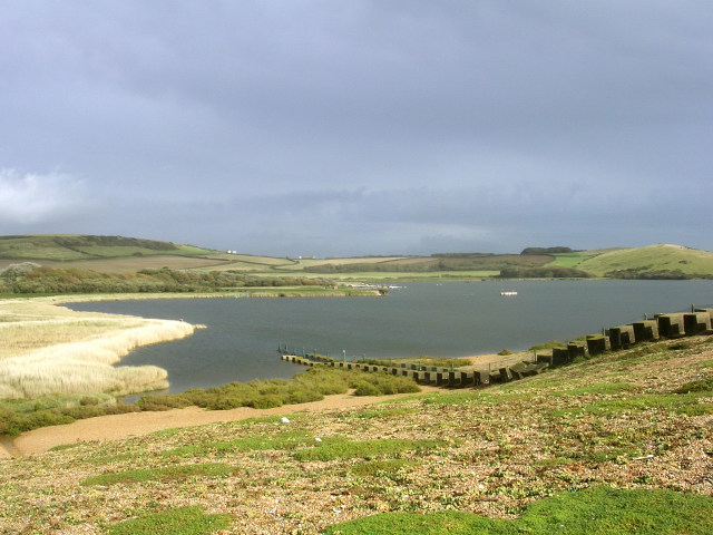 The end of West Fleet, with anti-tank defences on the landward side of Chesil beach