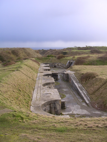 High-angle gun emplacements facing east at the Verne Battery