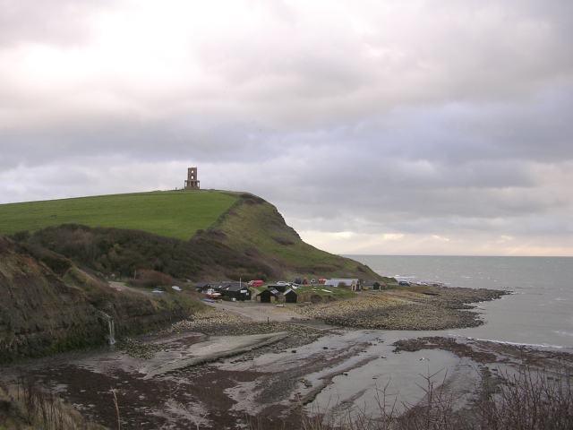 Clavell Tower on Hen Cliff, with the Kimmeridge visitor centre at beach level