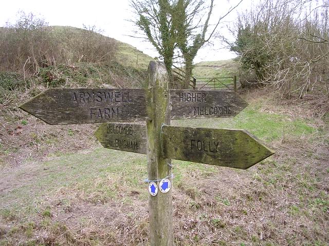 Four-way signpost at the Dorsetshire Gap