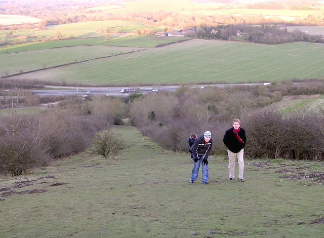 The modern ascent to Beacon Hill iron-age hillfort, Burghclere
