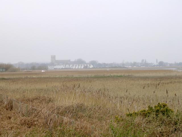 Looking across Wick Hams marsh towards Christchurch from Hengistbury Head
