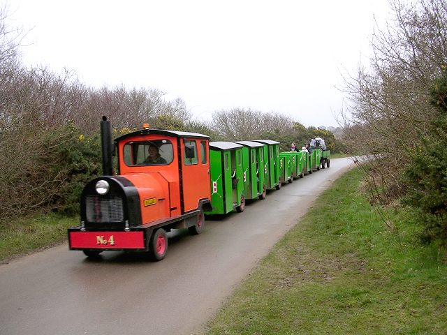 Hengistbury Head land train in operation