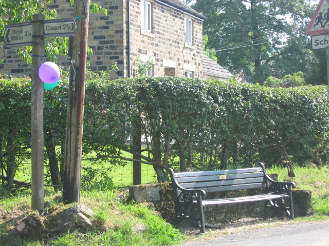 Road Sign and Bench, village of Combs