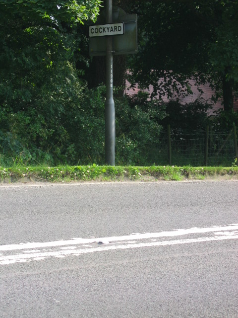 Road Sign, entrance to Cockyard on B5470