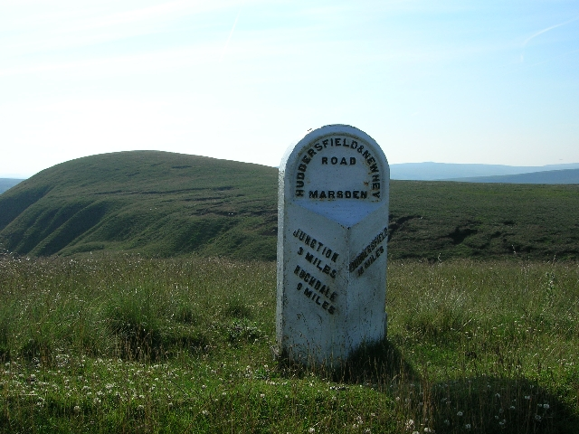 Milestone on A640, between Huddersfield and Rochdale