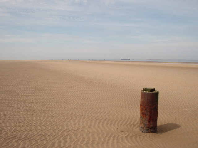 Steel pile on Donna Nook Sands