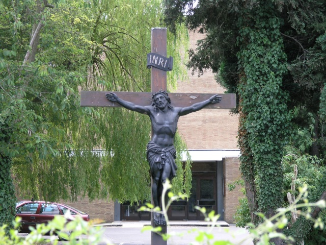 Crucifix outside Coulsdon Catholic Church