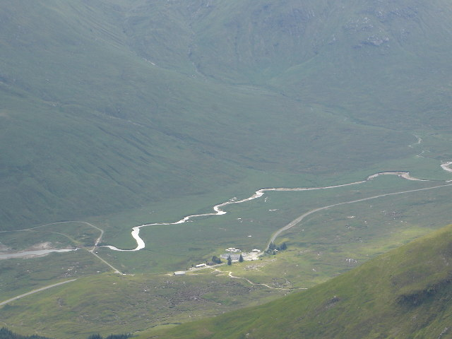 Looking down on Cluanie Inn from A'Chralaig