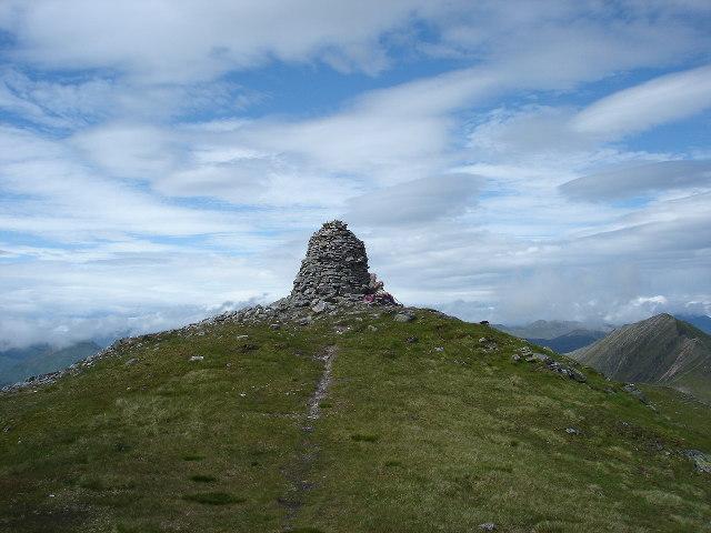 Summit cairn A' Chràlaig near Loch Cluanie