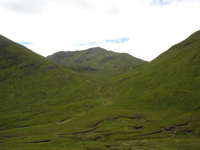 Peat hags and bog at head of An Caorann Mor north of Loch Cluanie