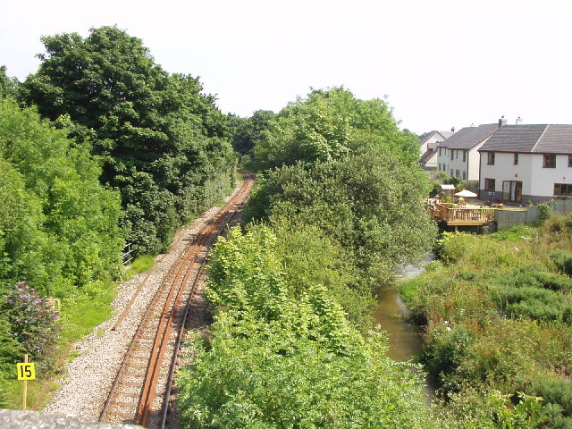 The railway and river at Bridges (Luxulyan)