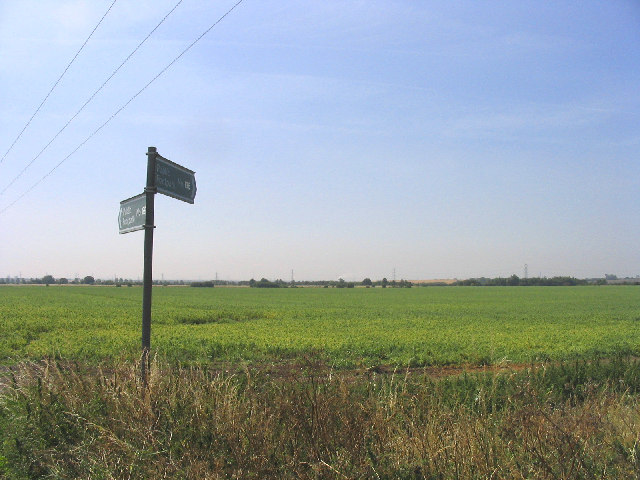 Footpath sign, Bulphan Fen, Bulphan, Essex