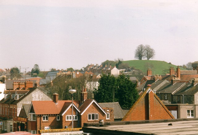 View across to Wyndham Hill from above Yeovil bus station