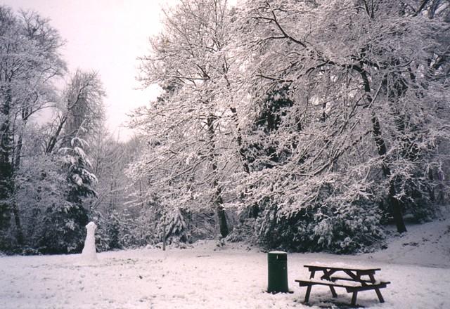 Snow scene, Glen Eyre university accommodation, Bassett