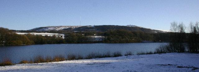 Upper Rivington Reservoir with Winter Hill