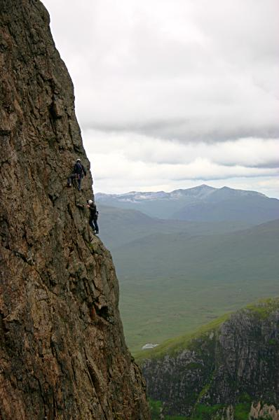 Climbers on Rannoch Wall, Buachaille Etive Mor