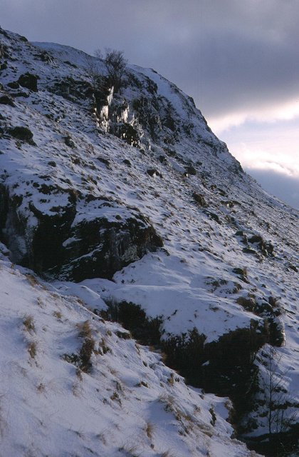Icy crags above the Auch Glen.