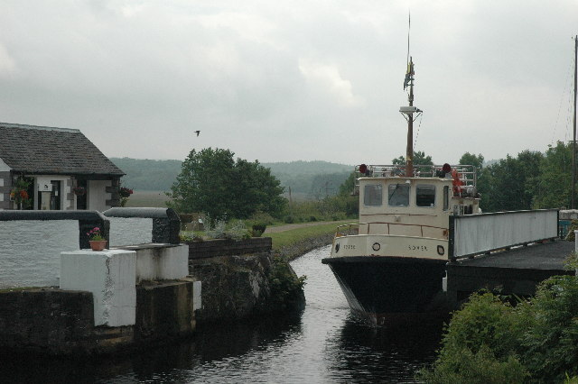 Boat passing through the Bellanoch Swing Bridge