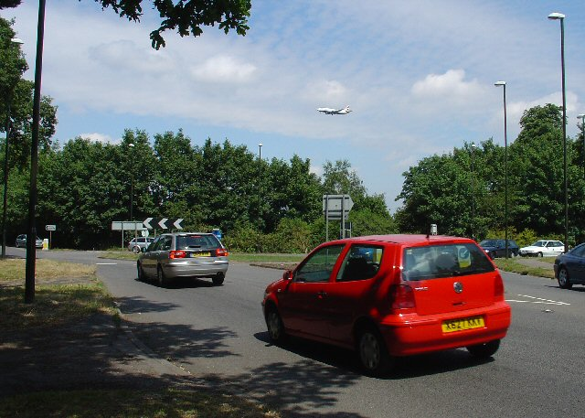 Roundabout at junction of B2037 (East Grinstead road) and B2036 (Horley to Balcombe) Road, Near Crawley, West Sussex.