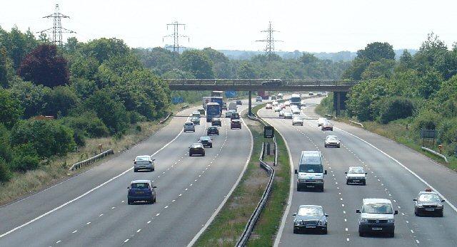 Motorway Bridge of B2037 over M23, Shipley Bridge, Surrey