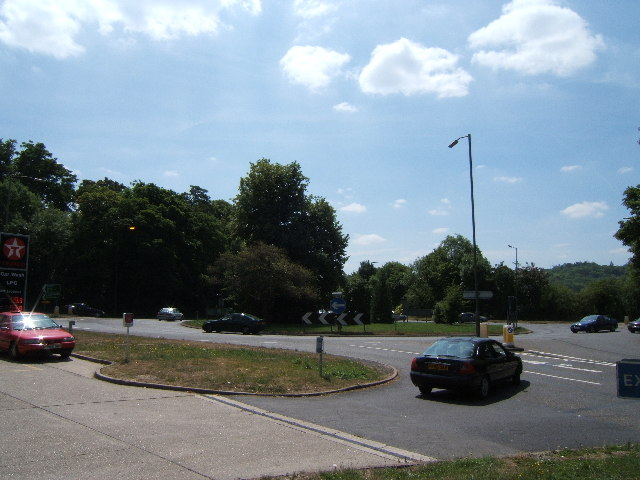 Roundabout at the Junction of A24, A246 and B2450.