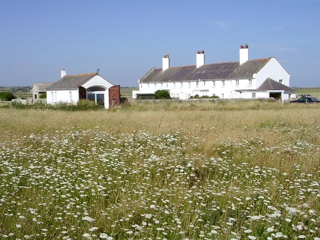 Old coastguard cottages at St Aldhelm's Head, Isle of Purbeck