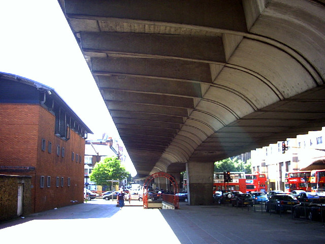Hammersmith Flyover (A4) from below.