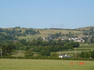 Farmland and hillside at Ruallt