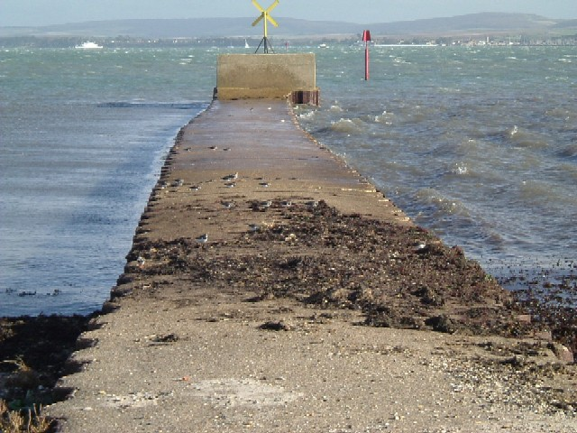 Concrete jetty at Lower Pennington, IoW in background