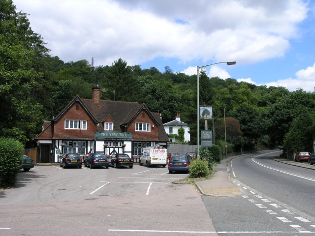 The Yew Tree public house, with Reigate Hill in the background