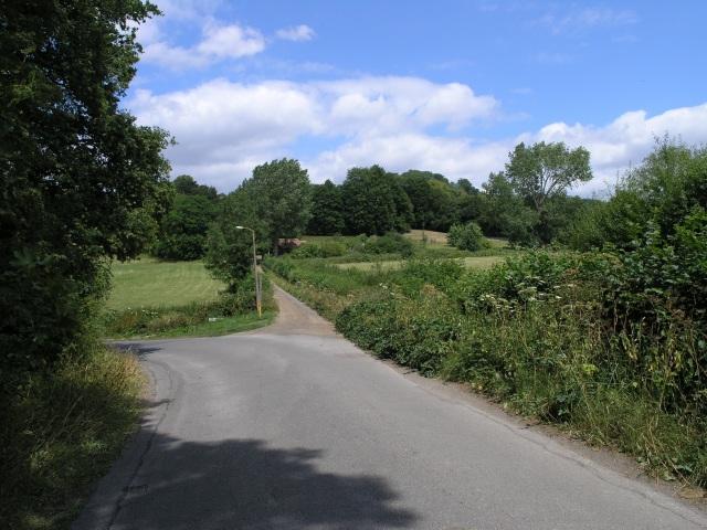 Road Junction in farmland near Reigate