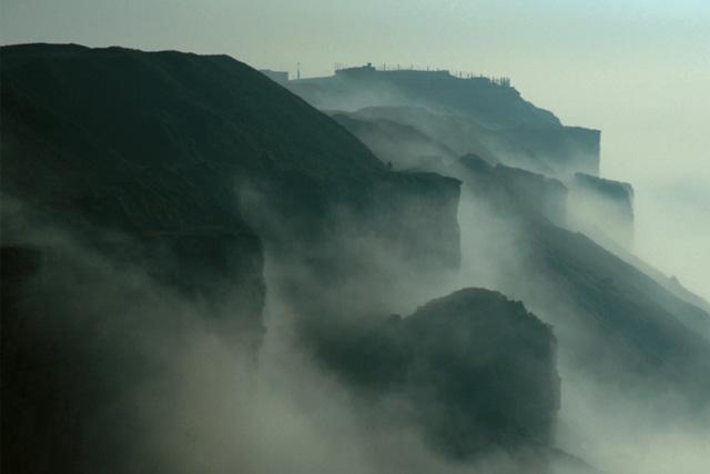 Blacknor Fort in fog