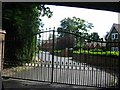 TQ0389 : Entrance Gates to Denham Manor by Jack Hill
