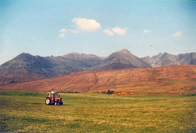 The Cuillin (and tractor) from Glen Brittle