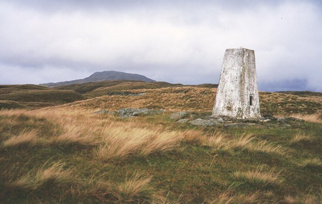 Trig point on Meall Mor