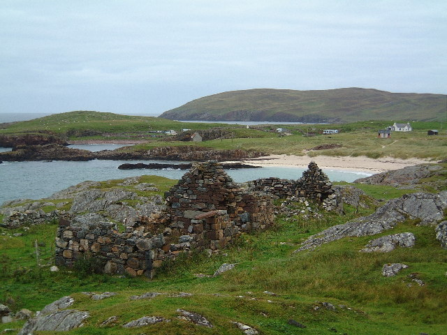 Remains of Black Houses overlooking Clachtoll Bay