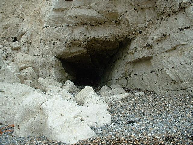 Cave in chalk cliffs