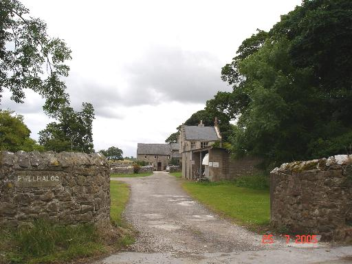 Stone farm buildings at Pwllhalog