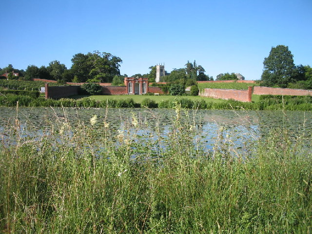 Ickworth Vinery, Church, and House from the pond