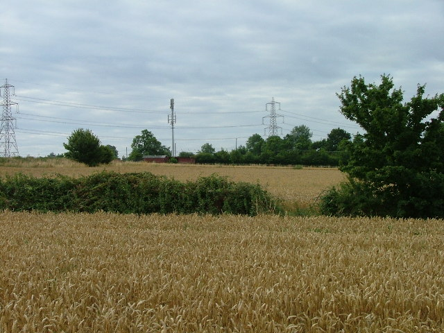 Over the fields towards the railway line.